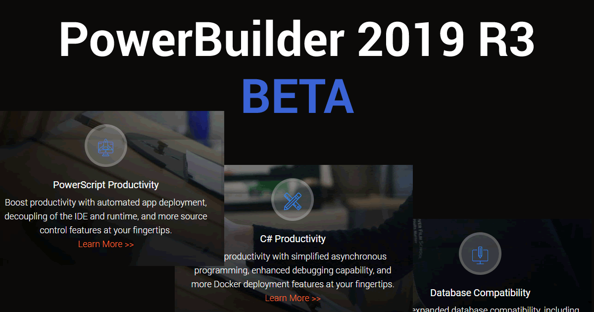 Appeon announced the availability of the PowerBuilder 2019 R3 Beta